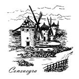Rysunkowy młyn Don donkiszot w Consuegra w Hiszpania, Castile los angeles Mancha, graficzna ilustracja Zdjęcia Royalty Free