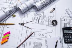 Rysunkowy mashine i rysunkowy narzędzie Obrazy Stock