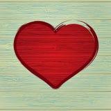 Rysunkowy miłość symbol na stary drewnianym. + EPS8 Obrazy Royalty Free