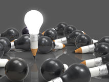Rysunkowy pomysł żarówki, ołówka pojęcie kreatywnie i Fotografia Stock