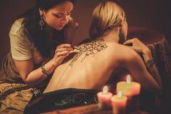Rysunkowy proces henny menhdi ornament Zdjęcie Stock
