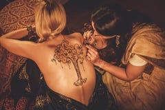 Rysunkowy proces henny menhdi ornament Fotografia Royalty Free