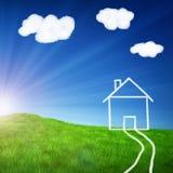 rysunkowy śródpolny zielony dom Obraz Stock