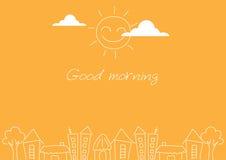 Rysunkowy słońce i miasto na żółtych tło, wektor Zdjęcia Stock