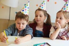 Rysunkowy urodzinowy obrazek Zdjęcia Stock