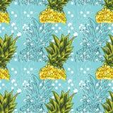 rysunkowy wręcza jej ranek bielizny jej ciepłych kobiety potomstwa Ilustracja ananas na błękitnym tle bezszwowy wzoru Obraz Royalty Free