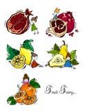 rysunkowy wręcza jej ranek bielizny jej ciepłych kobiety potomstwa Ilustracja owoc i owocowa czarodziejka bezszwowy wzoru Zdjęcia Royalty Free