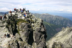 Rysy peak in Tatry mountains. In Poland stock photo