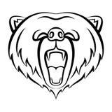 Rytande björnsymbol som isoleras på en vit bakgrund Arkivbild
