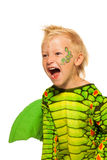 Rytande pojke i gigantisk drakedräkt Royaltyfria Foton