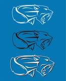 Rytande raseritigerhuvud royaltyfri illustrationer