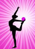 Rytmiczna gimnastyczki sylwetka na abstrakcjonistycznym tle Zdjęcia Stock