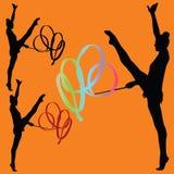 Rytmiczne gimnastyki z tasiemkową sylwetką Obraz Stock