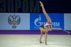 Rytmisk gymnast Alexandra Soldatova Arkivbild