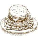 Rytownictwo ilustracja hamburger Obrazy Stock