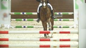Ryttare på den svarta hästen som galopperar på konkurrens för showbanhoppning arkivfilmer