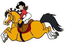 Ryttareflicka med den lyckliga ponnyn Royaltyfria Bilder