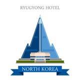 Ryugyong Hotel Pyongyang North Korea vector flat attraction Royalty Free Stock Image