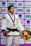 Ryuju Nagayama, Ιαπωνία με το χρυσό μετάλλιο των παγκόσμιων κυρίων 2017 τζούντου Στοκ εικόνα με δικαίωμα ελεύθερης χρήσης
