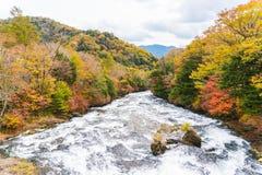 Ryuzu waterfall in autumn at nikko tochigi japan stock images
