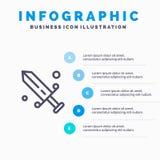 Rywalizacja, fechtunek, maska, Olimpijska Kreskowa ikona z 5 kroków prezentacji infographics tłem ilustracja wektor