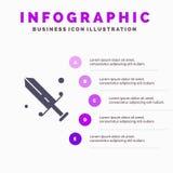 Rywalizacja, fechtunek, maska, Olimpijski Stały ikony Infographics 5 kroków prezentacji tło royalty ilustracja