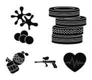 Rywalizacja, konkurs, wyposażenie, męczy Paintball ustalone inkasowe ikony w czerń stylu wektorowym symbolu zaopatrują ilustrację ilustracja wektor