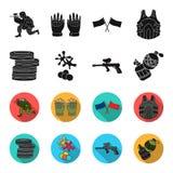 Rywalizacja, konkurs, wyposażenie, męczy Paintball ustalone inkasowe ikony w czerni, fleta symbolu stylowy wektorowy zapas ilustracji