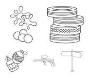Rywalizacja, konkurs, wyposażenie, męczy Paintball ustalone inkasowe ikony w konturu stylu wektorowym symbolu zaopatrują ilustrac ilustracji