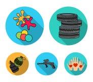 Rywalizacja, konkurs, wyposażenie, męczy Paintball ustalone inkasowe ikony w mieszkanie stylu wektorowym symbolu zaopatrują ilust royalty ilustracja