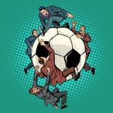 Rywalizacja politycy dla futbolu aqua płonącego okulary na piłkę ilustracja wektor
