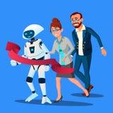 Rywalizacja, robot Najpierw Przychodził meta, Szybka Niż ludzie Wektorowi button ręce s push odizolowana początku ilustracyjna ko ilustracja wektor
