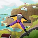 Rywalizacja Wingsuit latanie ilustracja wektor