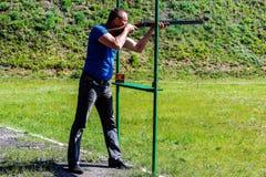 Rywalizacje w glinianego gołębia strzelaninie w Gomel regionie republika Białoruś Obrazy Royalty Free