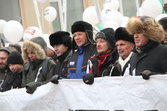 Ryzhkov, Aleksashenko, Kasparov mars pour Photos libres de droits