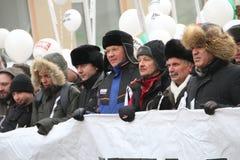 Ryzhkov, Aleksashenko, Kasparov op Maart voor Royalty-vrije Stock Foto's