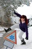 Ryzyko wypadki w zimie fotografia stock