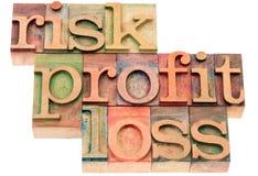 Ryzyko, zysk, straty słowa abstrakt Zdjęcie Stock