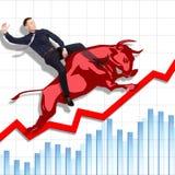 Ryzykowny ale pomyślny rodeo na giełdzie papierów wartościowych royalty ilustracja