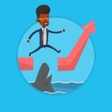 Ryzykowny biznesmen skacze nad oceanem z rekinem ilustracji