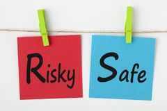 Ryzykowny lub Bezpieczny pojęcie Obrazy Stock