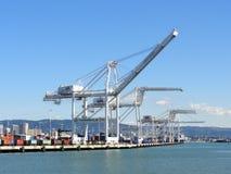 Rząd ładunków żurawie góruje nad linią brzegową w Oakland schronieniu na a Obrazy Royalty Free