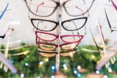 Rząd eyeglass przy okuliści obrazy stock