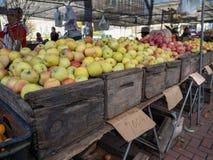 Rząd Fuji jabłka przy średniorolnym ` s rynkiem zdjęcie stock