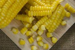 Rząd gotowana słodka kukurudza Zdjęcie Stock