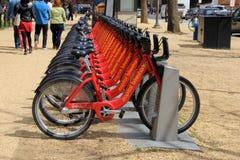 Rząd jaskrawi, kolorowi rowery najlepszy sposób dostawać wokoło Waszyngton, DC 2016 Obraz Royalty Free