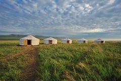 Rząd jurty na obszarach trawiastych Wewnętrzny Mongolia Zdjęcie Royalty Free