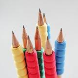 Rząd kolorów ołówki na białym tle studio Obrazy Royalty Free