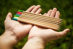 Rząd kolorów ołówki w rękach na zielonym krzaku Zdjęcia Stock