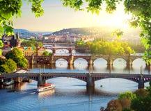 Rząd mosty w Praga fotografia royalty free